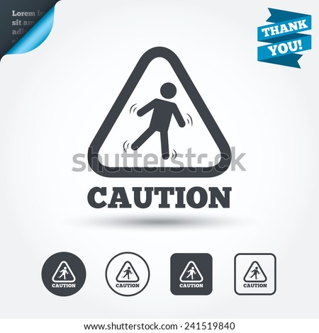 Caution wet floor sign icon. Human falling triangle symbol. Circle and square buttons. Flat design set. Thank you ribbon. Vector - stock vector