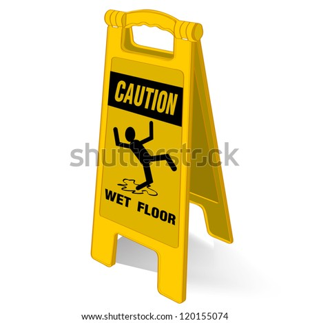 caution wet floor sign vector - stock vector