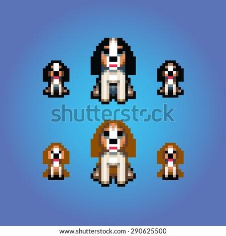 cavalier king charles spaniel dogs pixel art vector illustration - stock vector
