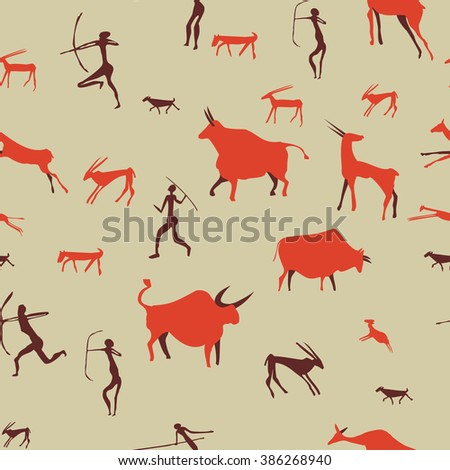 Cave drawing pattern; Ancient rock-painting stone age illustration vector