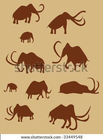 Cave Drawings Of Ancient Mammoths,  vector silhouettes