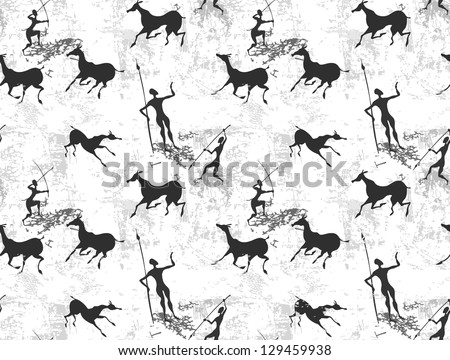 Cave painting seamless background texture - stock vector