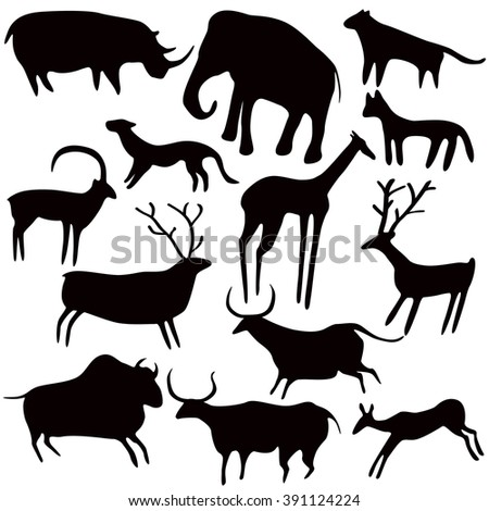Cave painting, stylized animals silhouettes, rock art. Vector set on white background. - stock vector