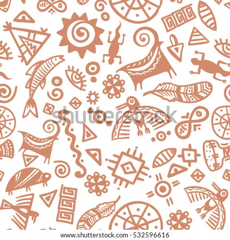 Cave Painting Tribal Ethnic Symbols Seamless Stock Vector 2018