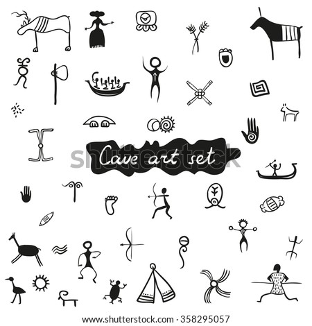 Cave primitive art set - vector rock drawings isolated on white background. Ancient tribal prehistoric elements collection.