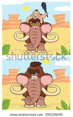 Caveman And Mammoth. Vector Collection Set