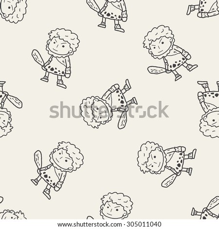 caveman doodle seamless pattern background