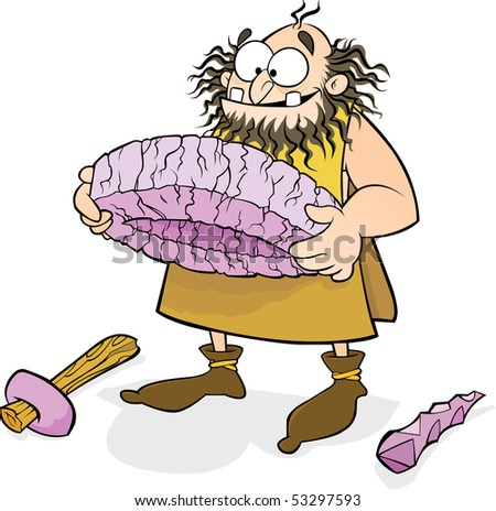Caveman Invents the wheel - stock vector
