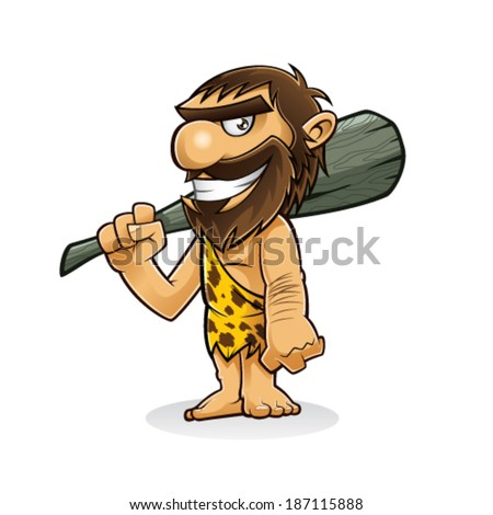 caveman is standing holding a weapon from the trunk of a tree and smiling - stock vector