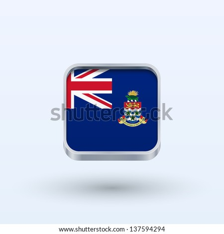 Cayman Islands flag icon square form on gray background. Vector illustration. - stock vector