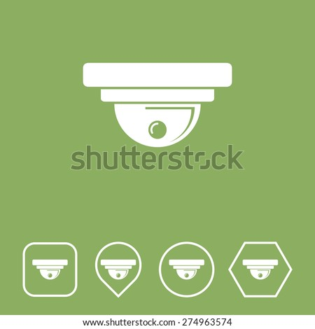 CCTV Camera Icon on Flat UI Colors with Different Shapes. Eps-10. - stock vector