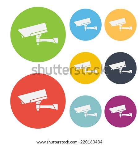 CCTV Camera Icon Symbol Vector Set - stock vector