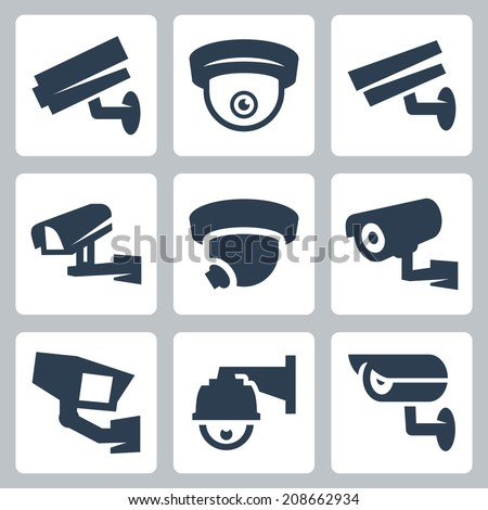 CCTV cameras vector icons set - stock vector