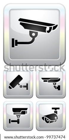 CCTV labels, video surveillance, set button security camera pictogram - stock vector