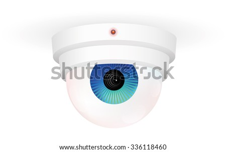 CCTV Monitoring Camera CCTV monitoring camera with an eye - isolated vector illustration over white background.