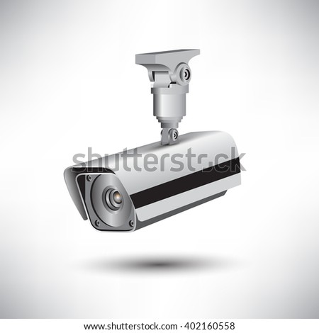 CCTV security camera on white background vector illustration
