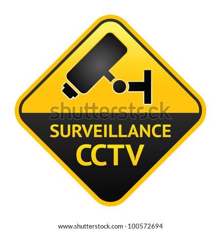 CCTV sign, video surveillance label - stock vector