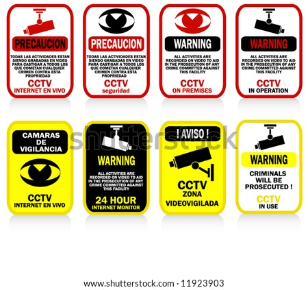 CCTV signs and warnings - posters - stock vector