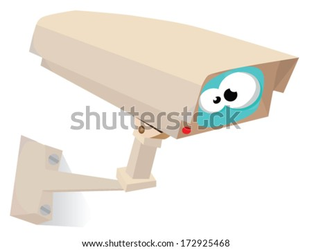 CCTV with eye vector - stock vector