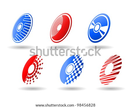 CD and DVD symbols and icons set for design. Jpeg version also available in gallery - stock vector