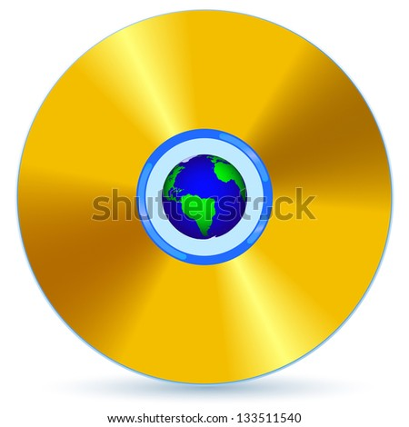CD and Globe for various design. - stock vector