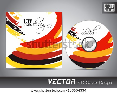 CD cover presentation design template with copy space and colorful wave effect, editable EPS10. Vector illustration. - stock vector