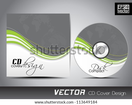 CD cover presentation design template with copy space and wave effect, editable EPS10 vector illustration. - stock vector