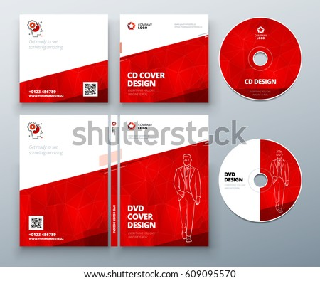 CD envelope, DVD case design. Red Corporate business template for CD envelope and DVD case. Layout with modern triangle elements and abstract background. Creative vector concept
