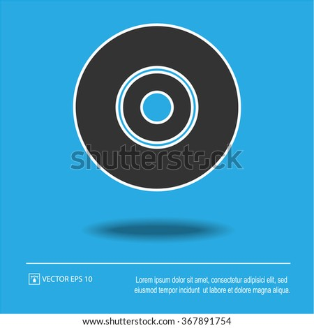 CD icon on blue background. Compact disc symbol. Isolated black and white vector illustration EPS 10. - stock vector