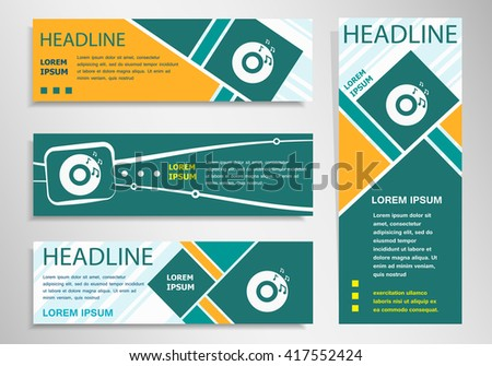 CD icon on horizontal and vertical discount banner, header. Modern banner design template - stock vector