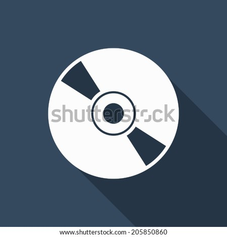 CD icon with long shadow - stock vector
