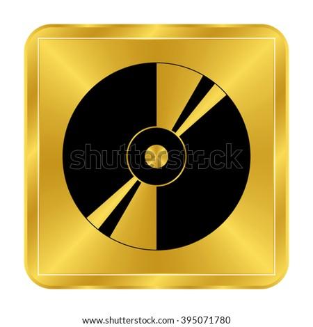CD or DVD - black vector icon;  gold button - stock vector