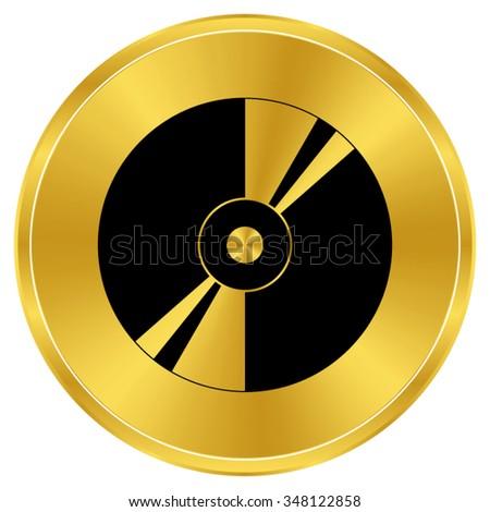 CD or DVD - gold vector icon - stock vector