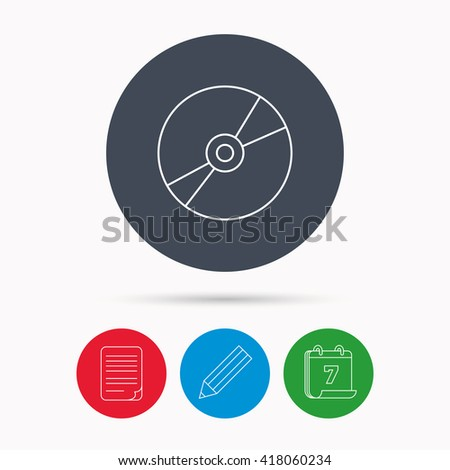 CD or DVD icon. Multimedia sign. Calendar, pencil or edit and document file signs. Vector - stock vector