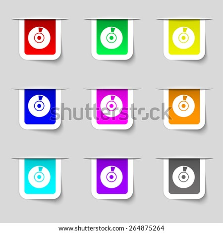 CD or DVD icon sign. Set of multicolored modern labels for your design. Vector illustration - stock vector