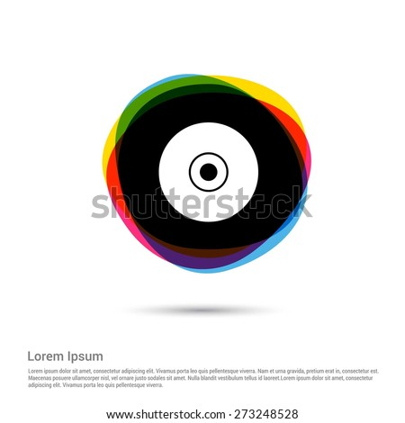 CD or DVD icon, White pictogram icon creative circle Multicolor background. Vector illustration. Flat icon design style - stock vector