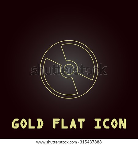 CD or DVD. Outline gold flat pictogram on dark background with simple text.Vector Illustration trend icon - stock vector