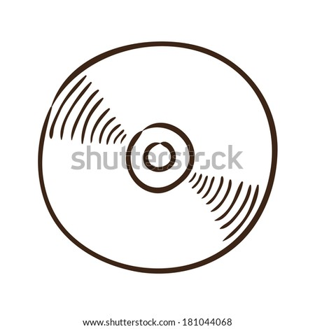 CD or DVD symbol. Isolated sketch icon pictogram. Eps 10 vector illustration. - stock vector