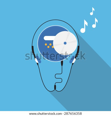 CD player with compact disc on blue background - stock vector