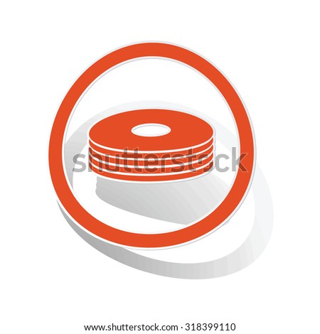CD stack sign sticker, orange circle with image inside, on white background - stock vector