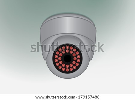 Ceiling mounted surveillance camera, fully editable vector - stock vector
