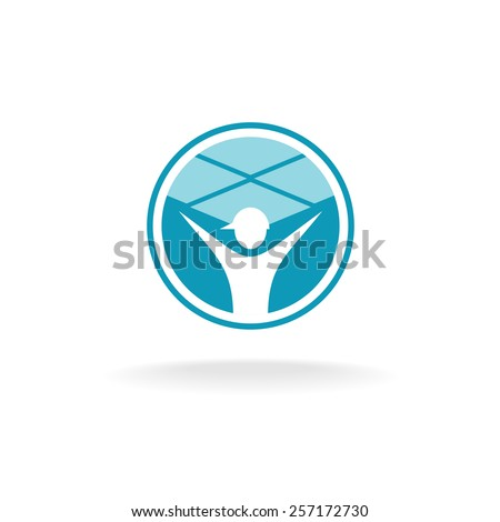 Ceiling tiles mount logo. Figure of a worker man with rise up hands under the square ceiling panels. - stock vector