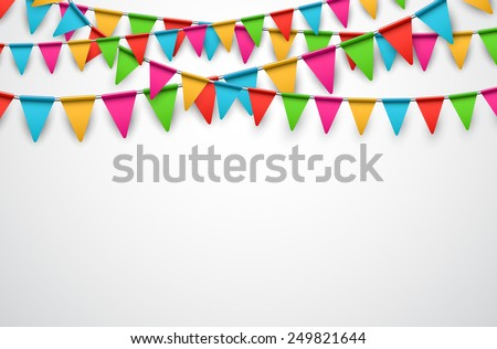 Celebrate background. Party colorful flags. Vector illustration.  - stock vector