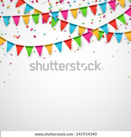 Celebrate background. Party flags with confetti. Vector illustration.  - stock vector