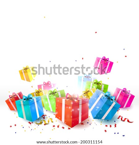 Celebrate background with gift boxes and confetti - stock vector