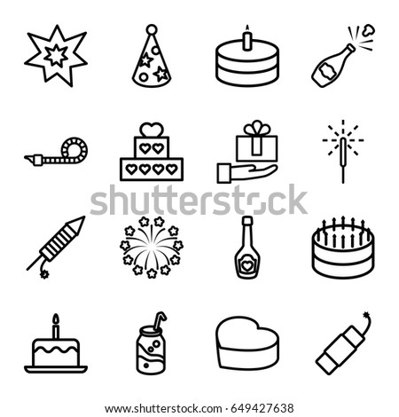 celebrate icons set set of 16 celebrate outline icons such as cake with one candle