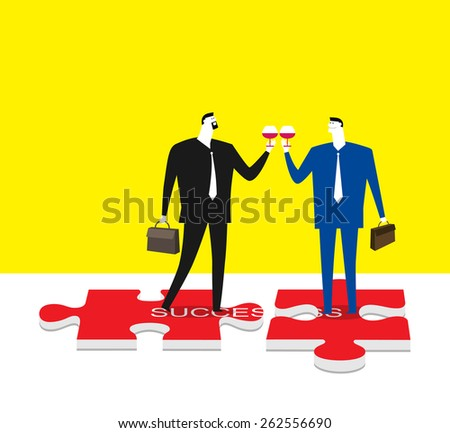 Celebrating a successful deal - stock vector