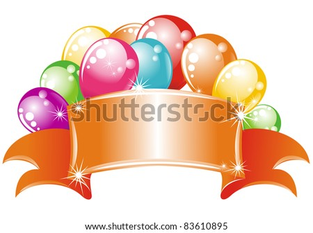Celebrating billboard with balloons - stock vector