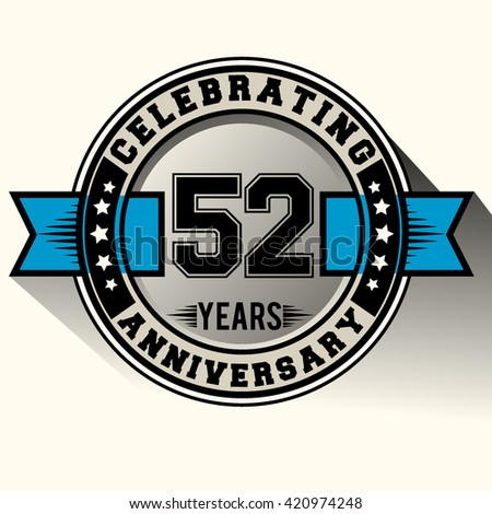Celebrating 52nd anniversary logo, 52 years anniversary sign with blue ribbon, retro design.