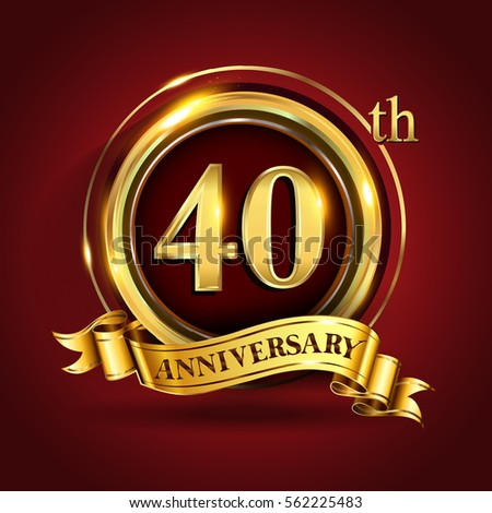 Celebrating 40th Golden Anniversary Forty Years Stock Vector